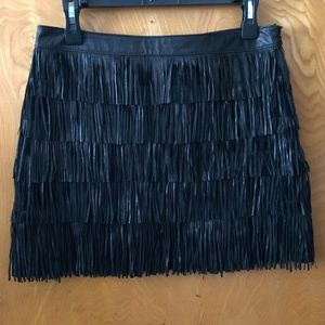 Michael Kors leather fringe layered mini skirt 4